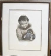 F. LORENZO MOTH CHARCOAL FRAMED PICTURE